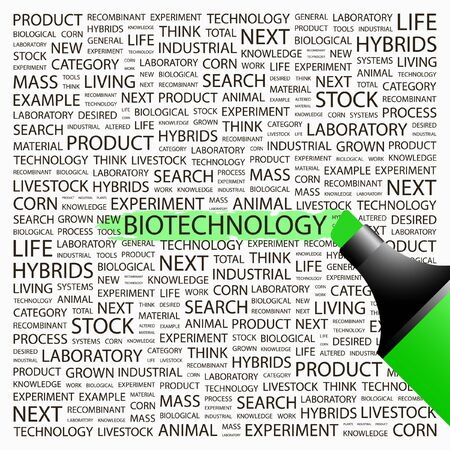bioscience: BIOTECHNOLOGY. Highlighter over background with different association terms. Vector illustration.