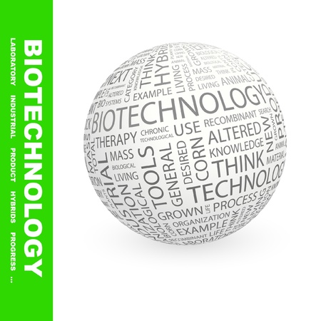 bioscience: BIOTECHNOLOGY. Globe with different association terms. Wordcloud vector illustration.