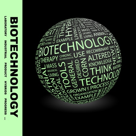 nucleic: BIOTECHNOLOGY. Globe with different association terms. Wordcloud vector illustration.