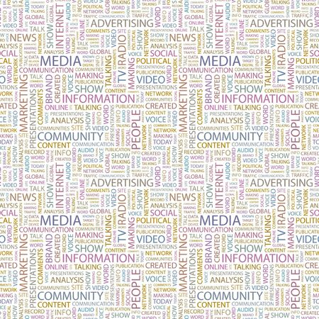 marketing mix: MEDIA. Seamless vector pattern with word cloud. Illustration with different association terms.   Illustration
