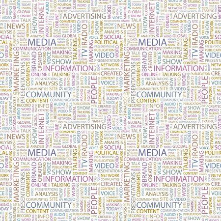 accessing: MEDIOS DE COMUNICACI�N. Patr�n de vector transparente con nubes de palabra. Ilustraci�n con t�rminos de asociaci�n diferente.