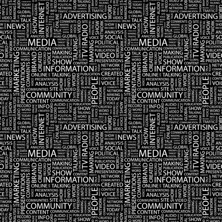 more information: MEDIA. Seamless vector pattern with word cloud. Illustration with different association terms.   Illustration