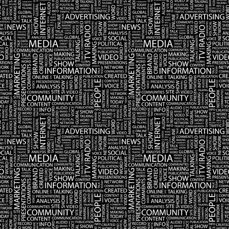 social media marketing: MEDIOS DE COMUNICACI�N. Patr�n de vector transparente con nubes de palabra. Ilustraci�n con t�rminos de asociaci�n diferente.
