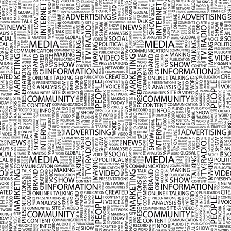 online newspaper: MEDIA. Seamless vector background. Wordcloud illustration. Illustration with different association terms.