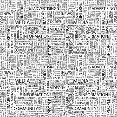 MEDIOS DE COMUNICACIÓN. Vector sin problemas de fondo. Ilustración de la Wordcloud. Ilustración con términos de asociación diferente.   Ilustración de vector
