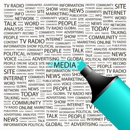MEDIOS DE COMUNICACIÓN. Marcador de resaltado sobre fondo con términos de asociación diferente. Ilustración vectorial.