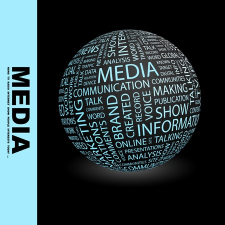 MEDIA. Globe with different association terms. Wordcloud vector illustration. Stock Vector - 9131105