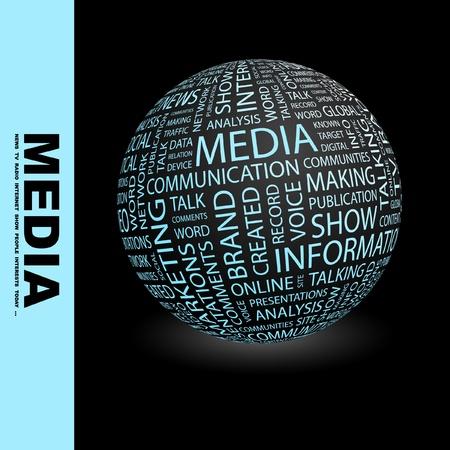 screen print: MEDIA. Globo con termini differenti associazione. Wordcloud illustrazione vettoriale.   Vettoriali