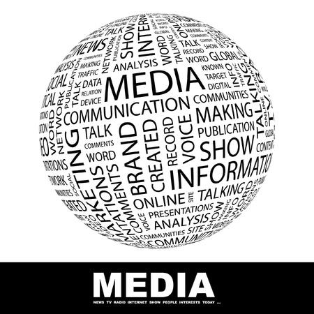 social media marketing: MEDIOS DE COMUNICACI�N. Globo con t�rminos de asociaci�n diferente. Ilustraci�n vectorial de Wordcloud.