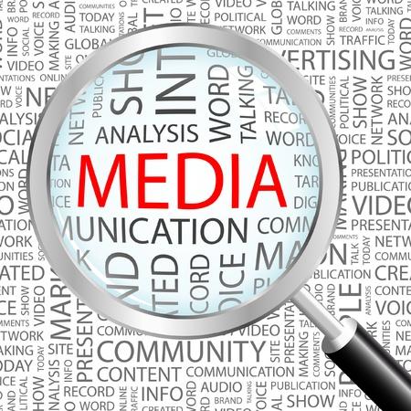 MEDIA. Vergrootglas op achtergrond met verschillende vereniging voorwaarden. Vectorillustratie.