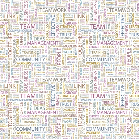 concerted: TEAM. Seamless vector background. Wordcloud illustration. Illustration with different association terms.