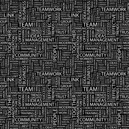 TEAM. Seamless vector pattern with word cloud. Illustration with different association terms. Stock Vector - 9131231