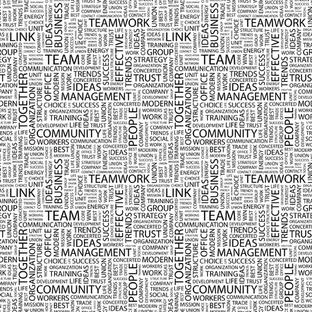 concerted: TEAM. Seamless vector pattern with word cloud. Illustration with different association terms.