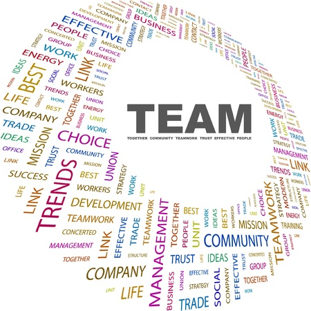 marketing mix: TEAM. Word collage on white background. Vector illustration. Illustration with different association terms.
