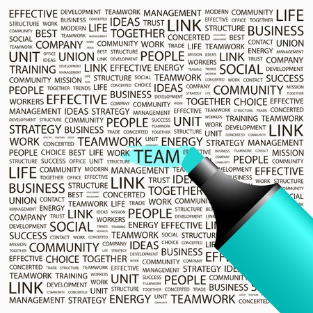organization development: TEAM. Highlighter over background with different association terms. Vector illustration.
