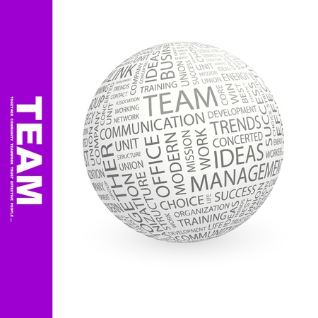 TEAM. Globe with different association terms. Wordcloud vector illustration.