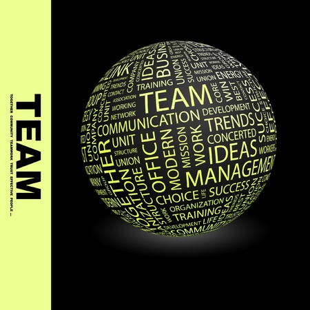 TEAM. Globe with different association terms. Wordcloud vector illustration. Stock Vector - 9196718