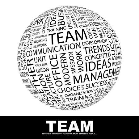 team discussion: TEAM. Globe with different association terms. Wordcloud vector illustration.