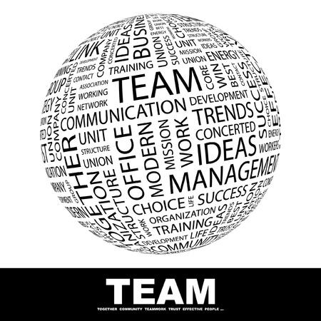 teamleider: TEAM. Wereldbol met verschillende vereniging voorwaarden. Wordcloud vectorillustratie.   Stock Illustratie