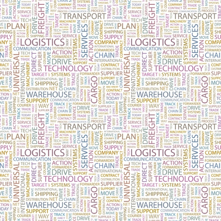 paper chain: LOGISTICS. Seamless vector pattern with word cloud. Illustration with different association terms.