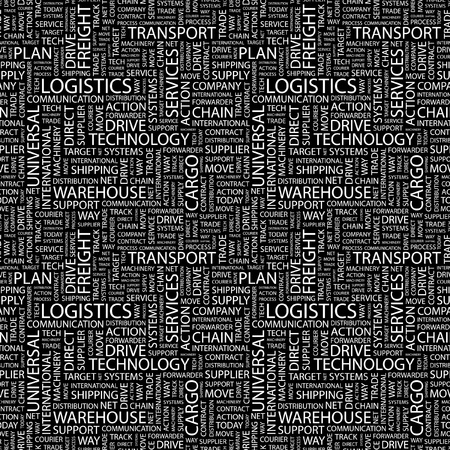 LOGISTICS. Seamless vector background. Wordcloud illustration. Illustration with different association terms.   Vector