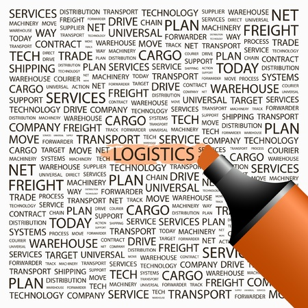 LOGISTICS. Highlighter over background with different association terms. Vector illustration. Vector