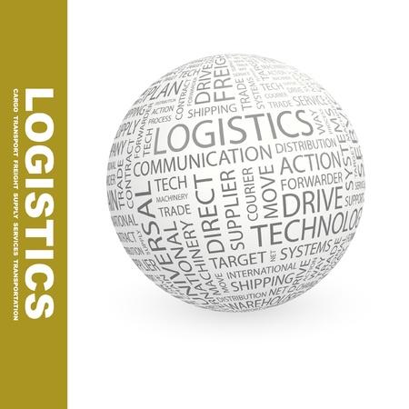 air freight: LOGISTICA. Globo con termini differenti associazione. Wordcloud illustrazione vettoriale.   Vettoriali