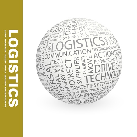LOGISTICS. Globe with different association terms. Wordcloud vector illustration.   Vector