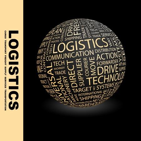 embarque: LOG�STICA. Globo con t�rminos de asociaci�n diferente. Ilustraci�n vectorial de Wordcloud.   Vectores