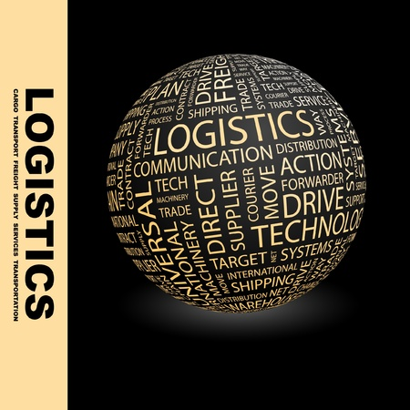 warehouse storage: LOGISTICS. Globe with different association terms. Wordcloud vector illustration.