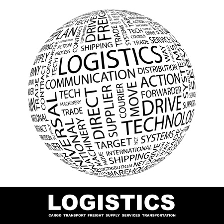 import trade: LOGISTICS. Globe with different association terms. Wordcloud vector illustration.