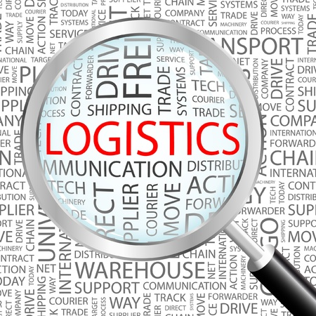 import trade: LOGISTICS. Magnifying glass over background with different association terms. Vector illustration.