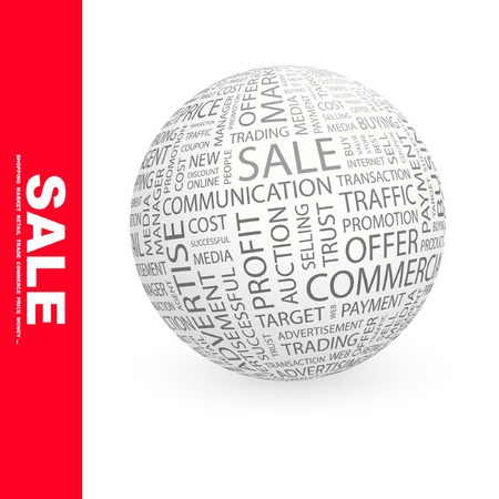 special service agent: SALE. Globe with different association terms. Wordcloud vector illustration.