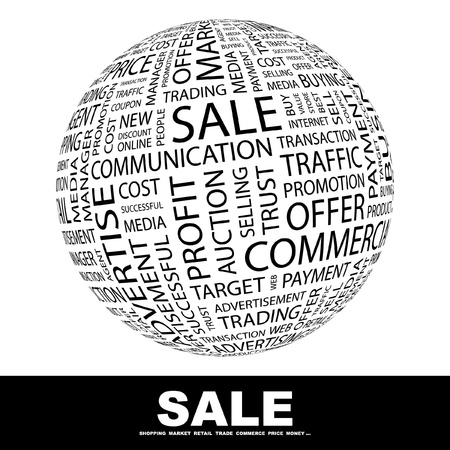 SALE. Globe with different association terms. Wordcloud vector illustration.   Vector