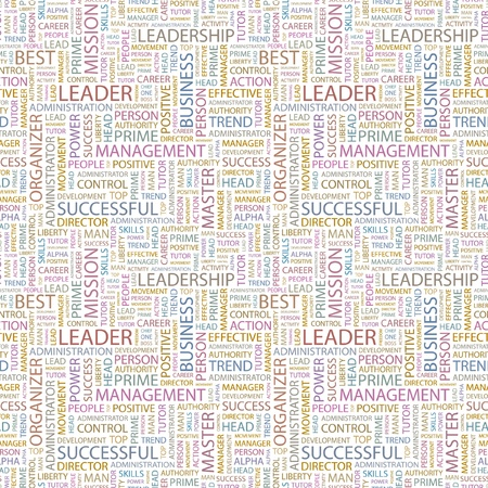 LEADER. Seamless vector pattern with word cloud. Illustration with different association terms.   Vector