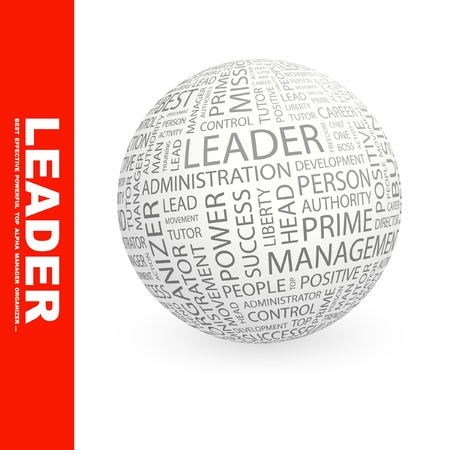 administrativo: LEADER. Globe with different association terms. Wordcloud vector illustration.