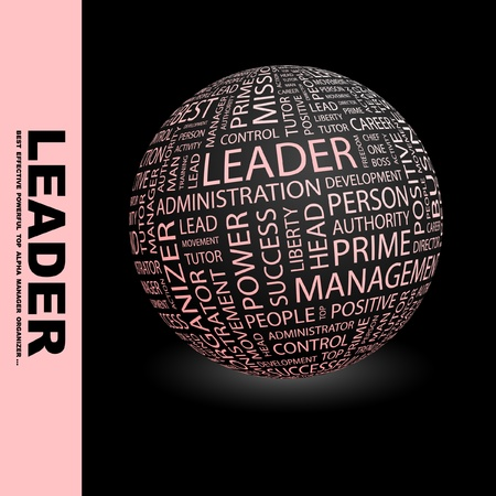 kingpin: LEADER. Globe with different association terms. Wordcloud vector illustration.