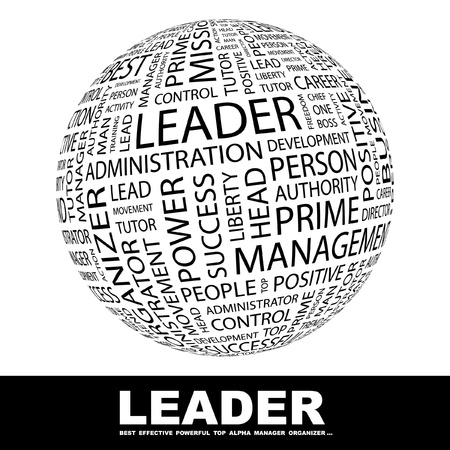 word www: LEADER. Globe with different association terms. Wordcloud vector illustration.