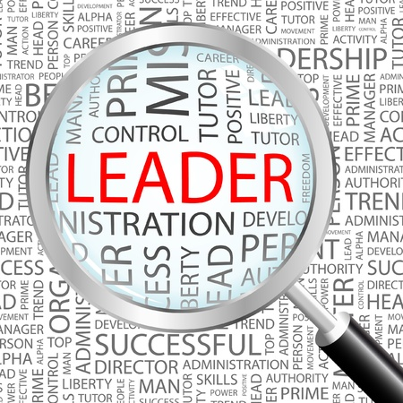 administrativo: LEADER. Magnifying glass over background with different association terms. Vector illustration.