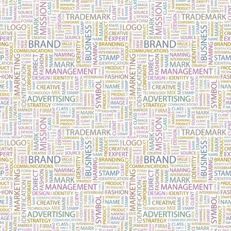BRAND. Seamless vector background. Wordcloud illustration. Illustration with different association terms. Vector