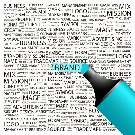 online logo: BRAND. Highlighter over background with different association terms. Vector illustration.