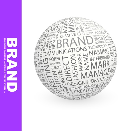 BRAND. Globe with different association terms. Wordcloud vector illustration. Stock Vector - 9196721