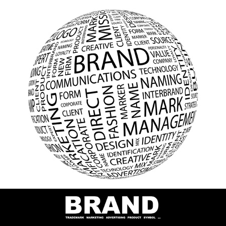 brand: BRAND. Globe with different association terms. Wordcloud vector illustration.   Illustration