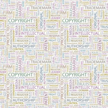 COPYRIGHT. Seamless background. Wordcloud illustration. Illustration with different association terms.   Stock Vector - 9392455