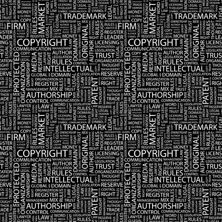 authorship: COPYRIGHT. Seamless vector pattern with word cloud. Illustration with different association terms.
