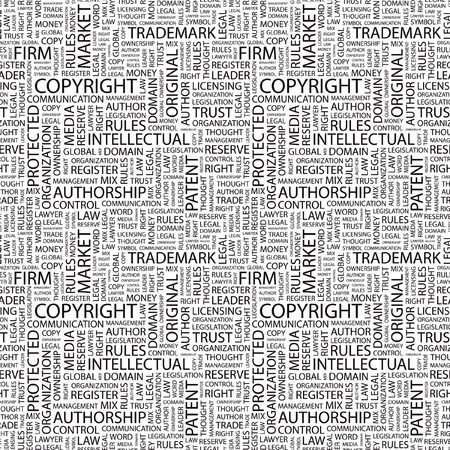 COPYRIGHT. Seamless vector pattern with word cloud. Illustration with different association terms.   Stock Vector - 9131225