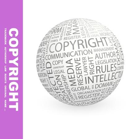 COPYRIGHT. Globe met verschillende vereniging voorwaarden. Wordcloud vectorillustratie.