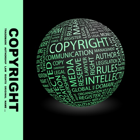 COPYRIGHT. Globe with different association terms. Wordcloud vector illustration. Stock Vector - 9196716
