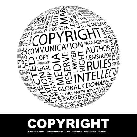 regulierung: COPYRIGHT. Globus mit verschiedenen Association-Begriffe. Wordcloud-Vektor-Illustration.
