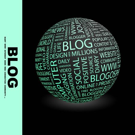 blogosphere: BLOG. Globe with different association terms. Wordcloud vector illustration.   Illustration